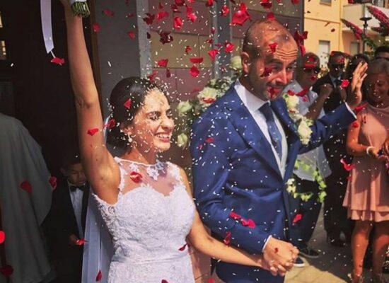 Sposi all'uscita della Chiesa