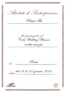 """Certificazione Corso """"Wedding Planner"""" - modulo avanzato"""