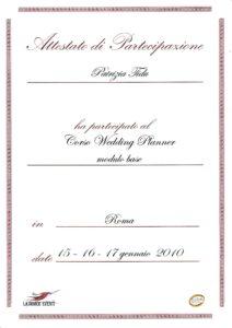 """Attestazione Corso """"Wedding Planner"""" - modulo base"""
